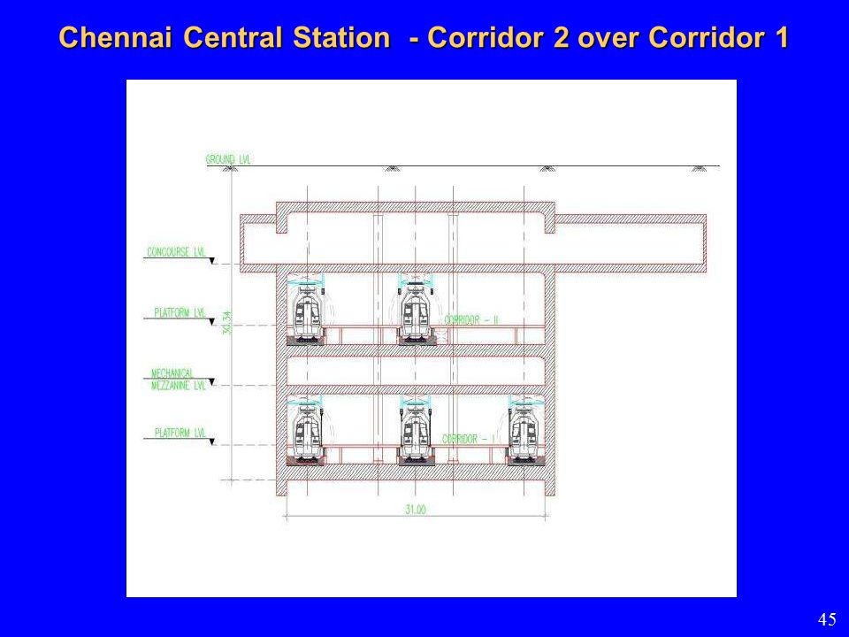 Chennai Central Station - Corridor 2 over Corridor 1