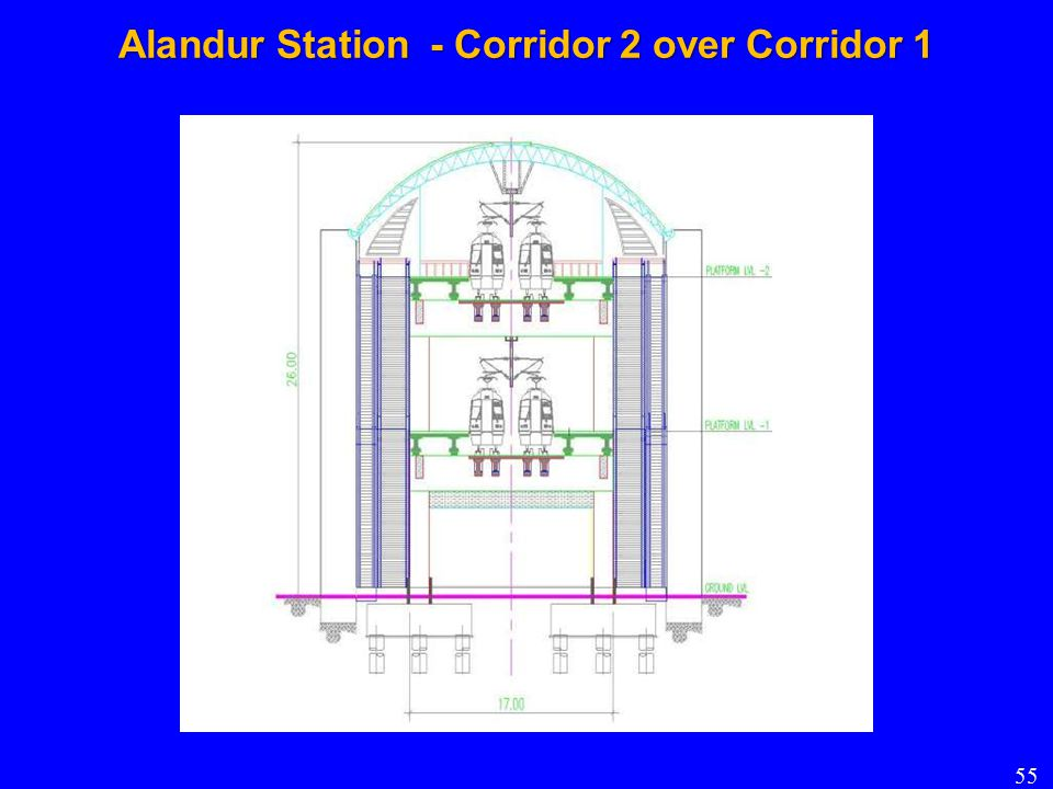 Alandur Station - Corridor 2 over Corridor 1