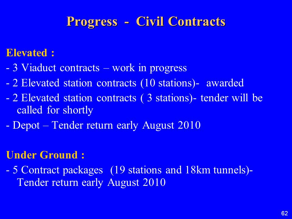 Progress - Civil Contracts
