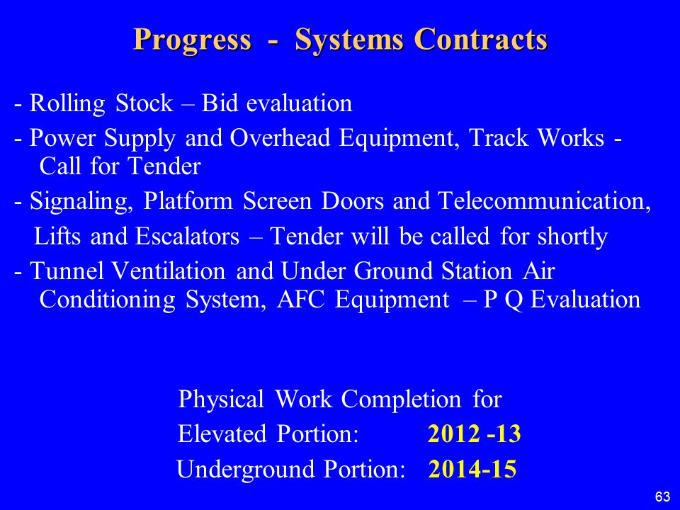 Progress - Systems Contracts