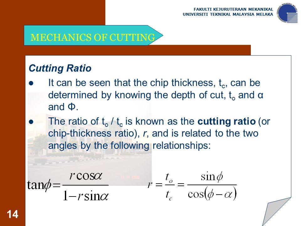 MECHANICS OF CUTTING Cutting Ratio