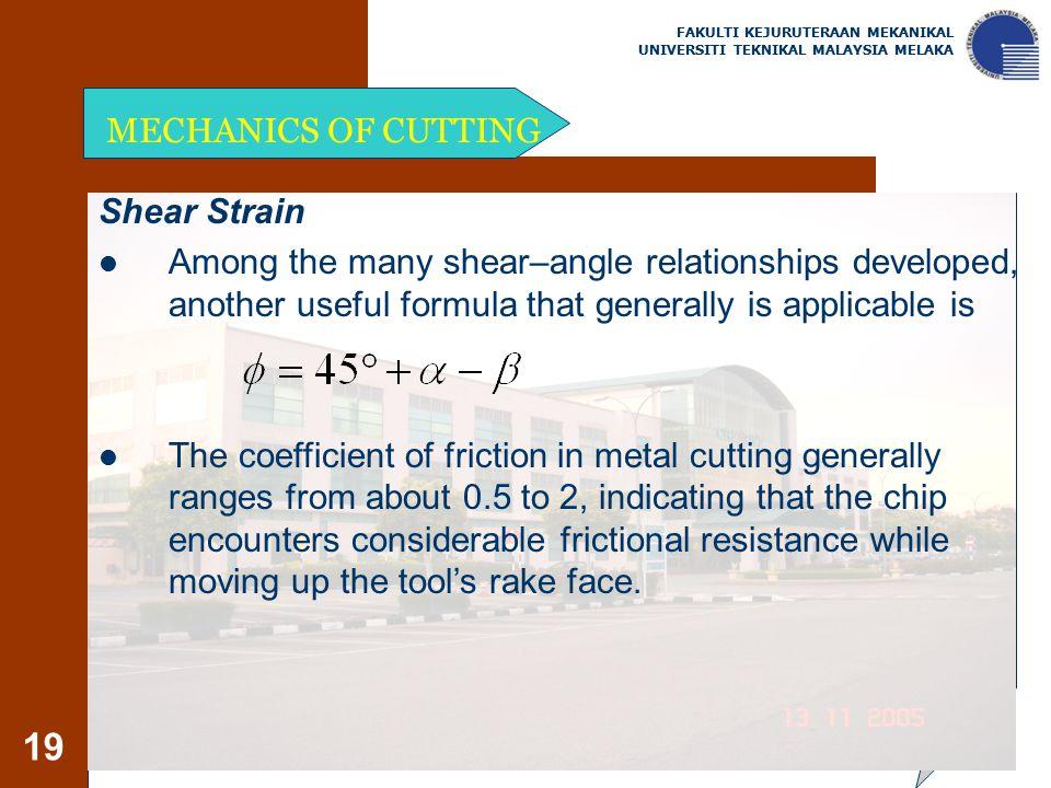MECHANICS OF CUTTING Shear Strain