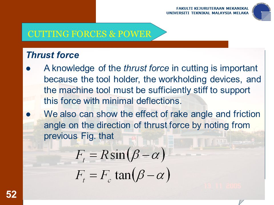 CUTTING FORCES & POWER Thrust force