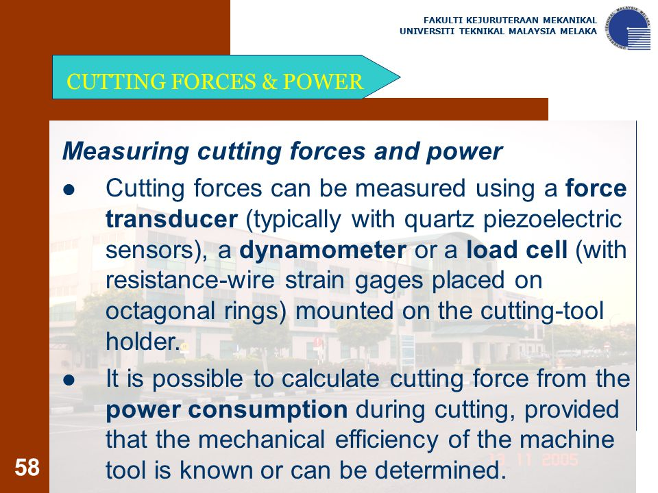 Measuring cutting forces and power
