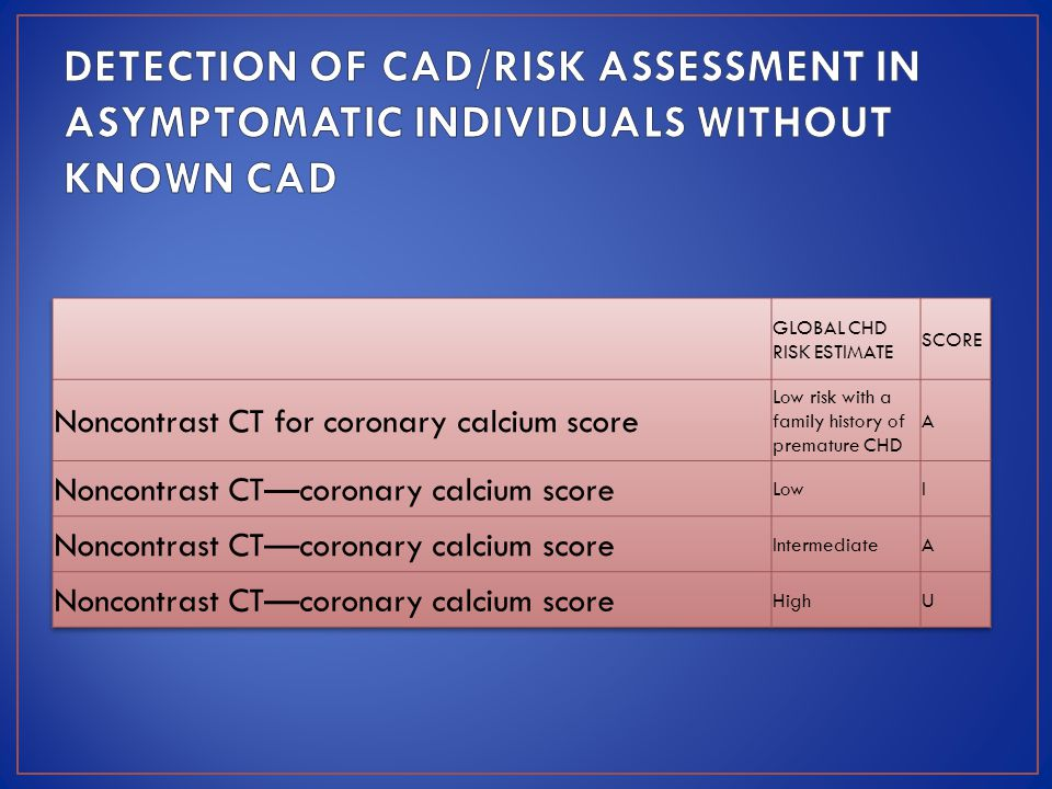 DETECTION OF CAD/RISK ASSESSMENT IN ASYMPTOMATIC INDIVIDUALS WITHOUT KNOWN CAD
