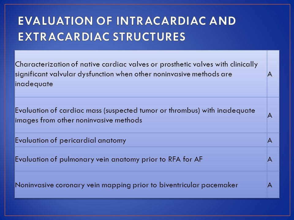 EVALUATION OF INTRACARDIAC AND EXTRACARDIAC STRUCTURES