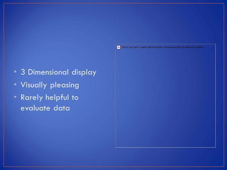 3 Dimensional display Visually pleasing Rarely helpful to evaluate data