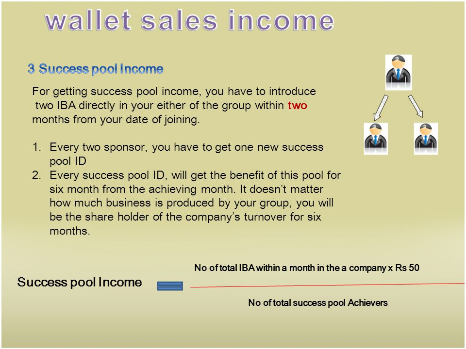 wallet sales income 3 Success pool Income Success pool Income