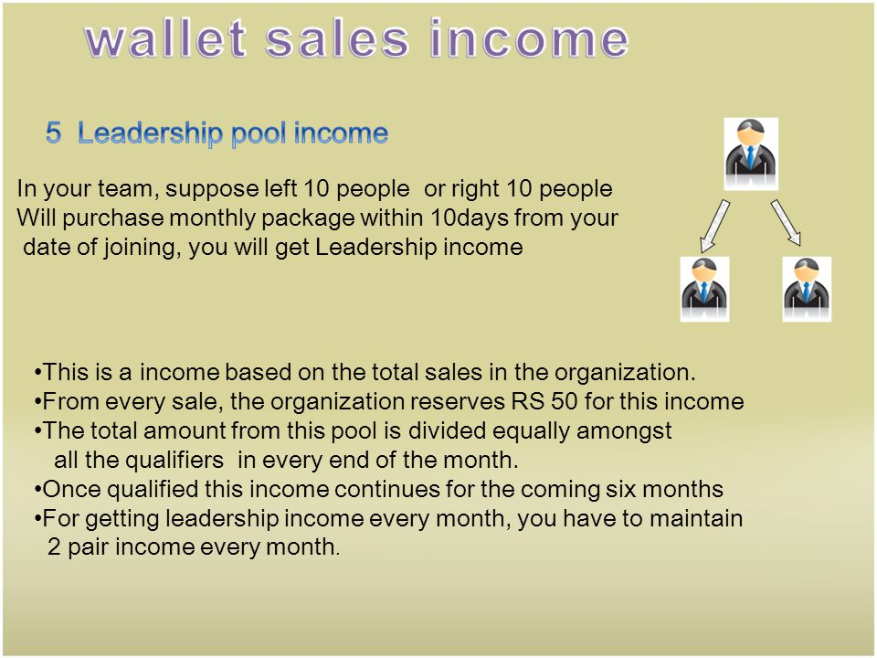 wallet sales income 5 Leadership pool income