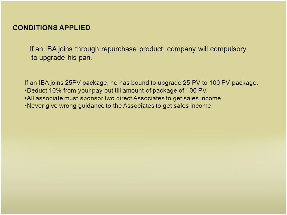 If an IBA joins through repurchase product, company will compulsory