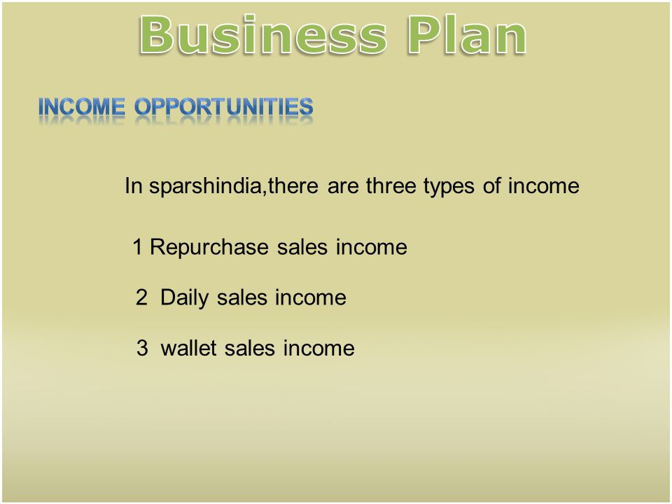 Business Plan Income opportunities