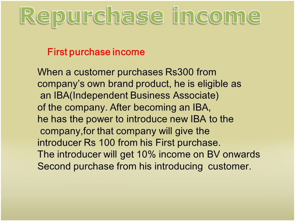 Repurchase income First purchase income