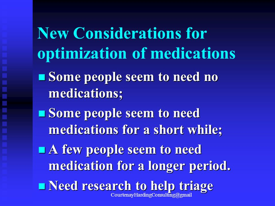 New Considerations for optimization of medications