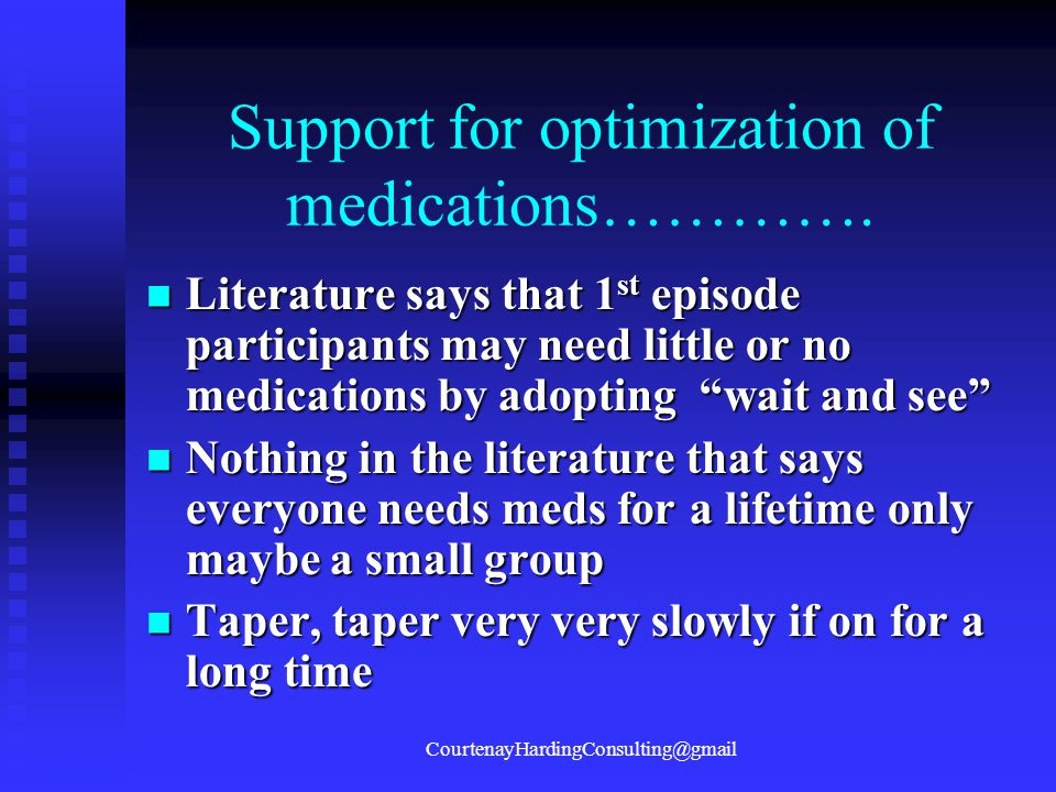 Support for optimization of medications………….