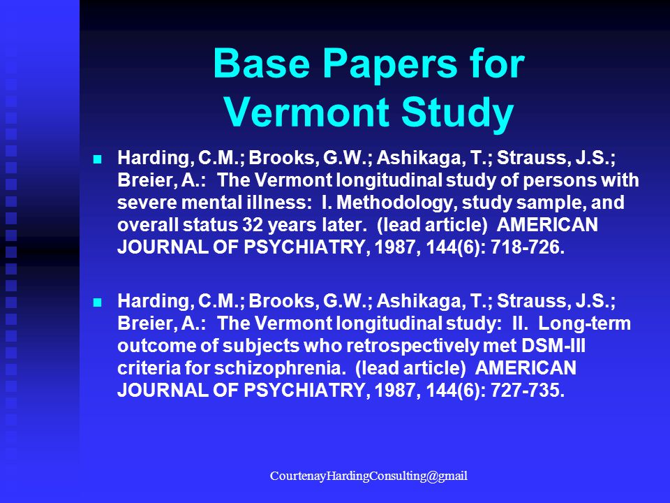 Base Papers for Vermont Study