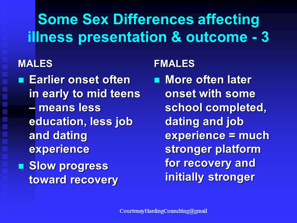 Some Sex Differences affecting illness presentation & outcome - 3