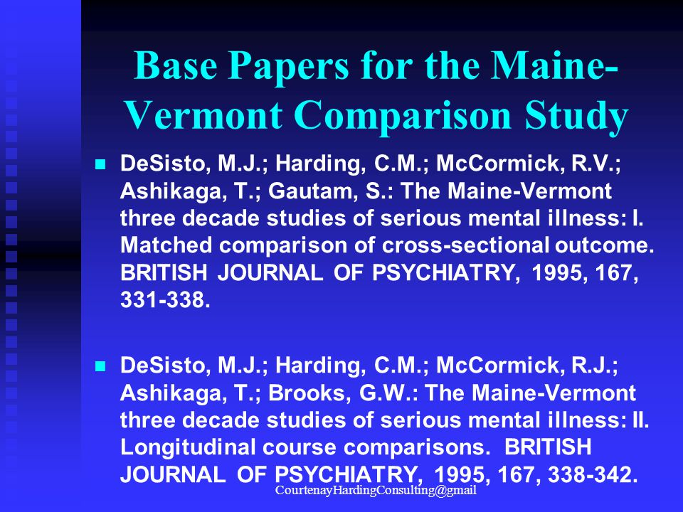 Base Papers for the Maine-Vermont Comparison Study