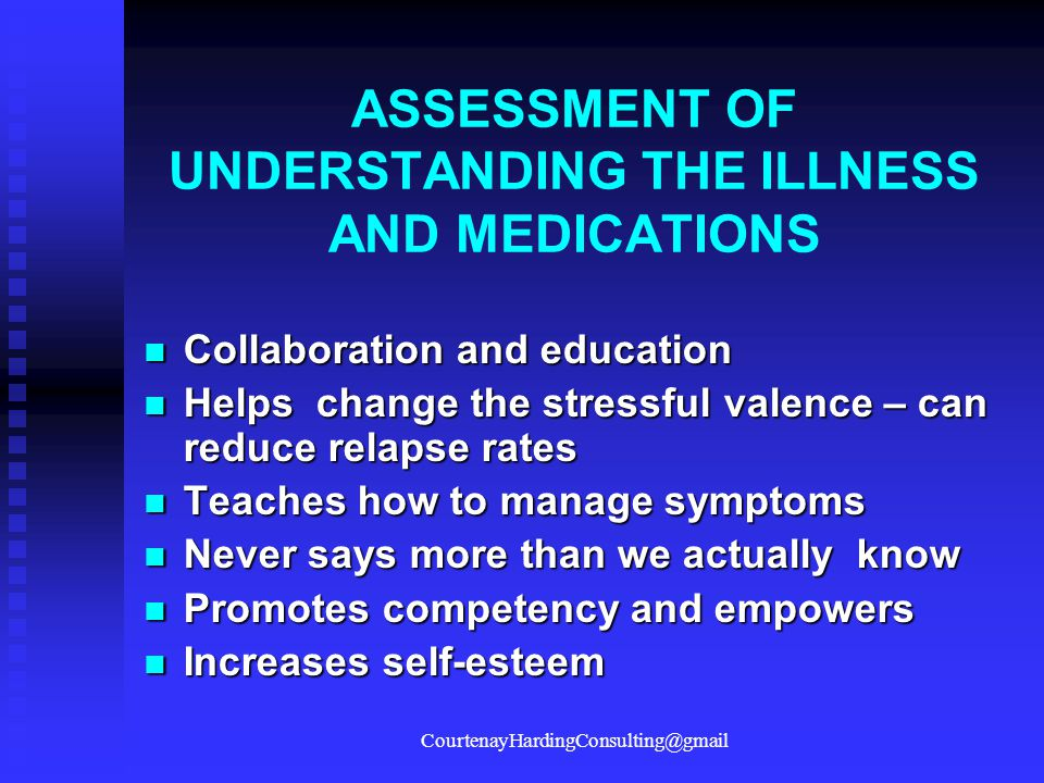 ASSESSMENT OF UNDERSTANDING THE ILLNESS AND MEDICATIONS
