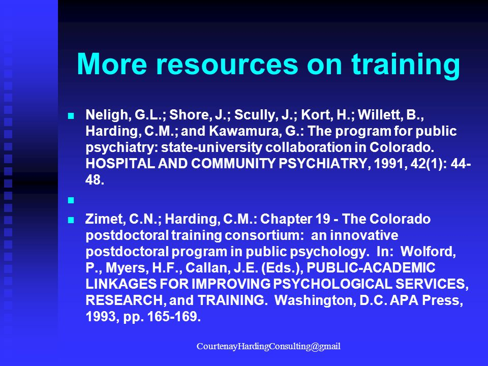 More resources on training