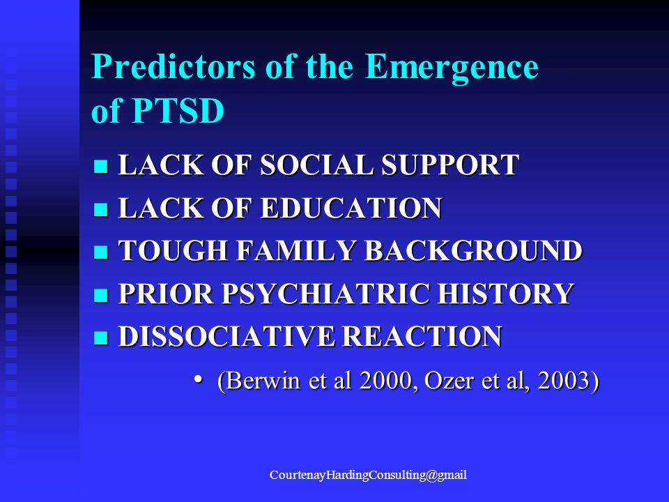 Predictors of the Emergence of PTSD