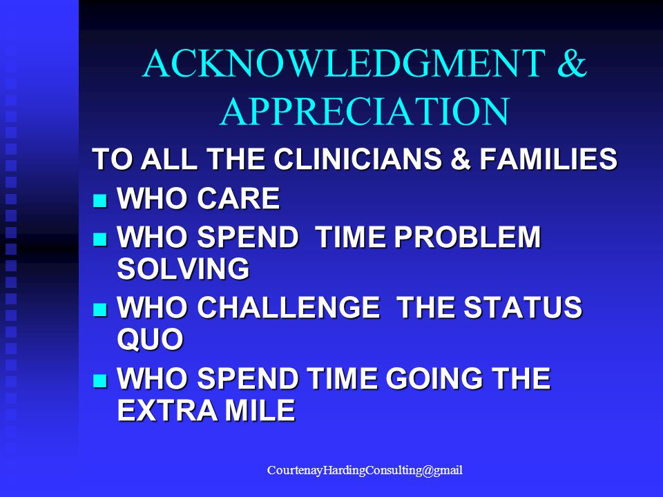 ACKNOWLEDGMENT & APPRECIATION
