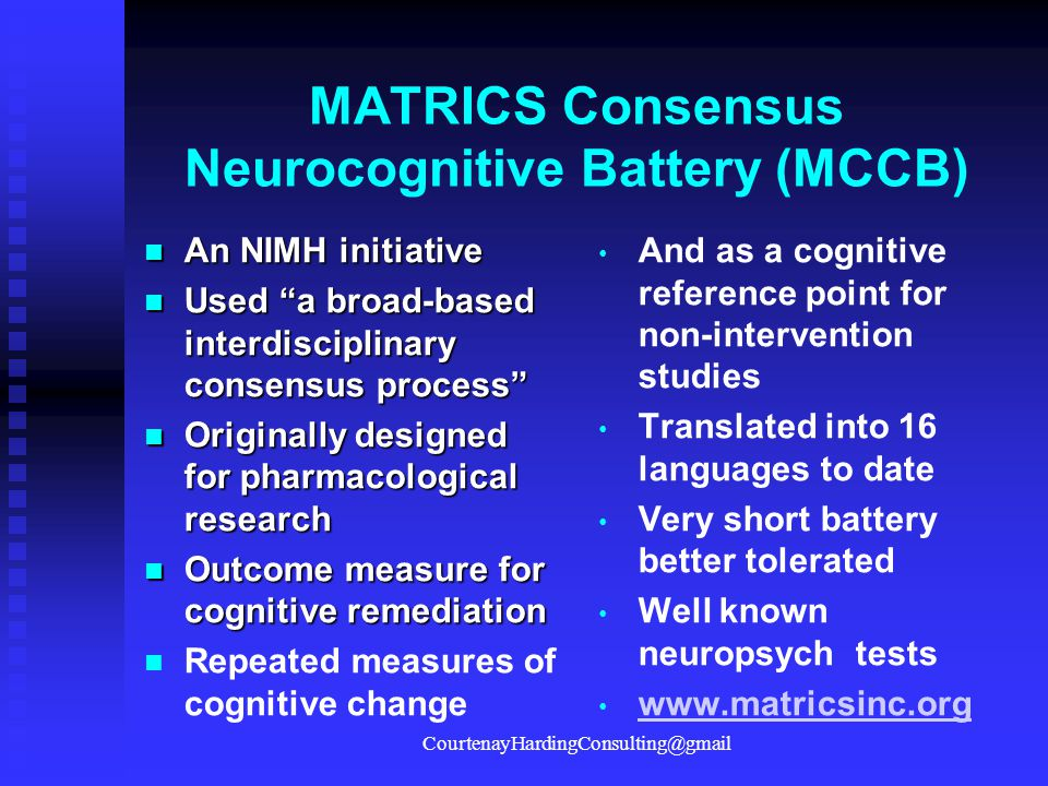 MATRICS Consensus Neurocognitive Battery (MCCB)