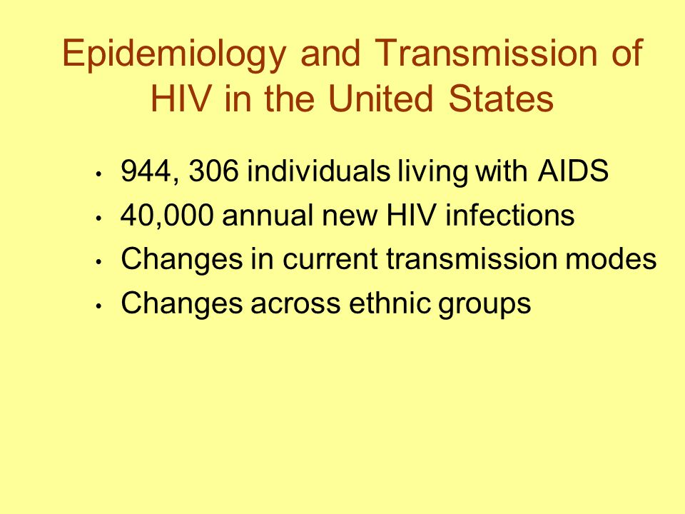 Epidemiology and Transmission of HIV in the United States