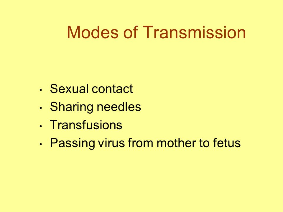 Modes of Transmission Sexual contact Sharing needles Transfusions