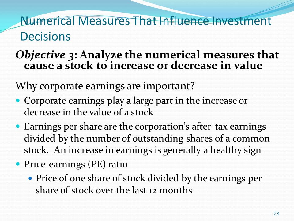Numerical Measures That Influence Investment Decisions