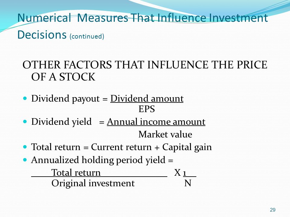 Numerical Measures That Influence Investment Decisions (continued)