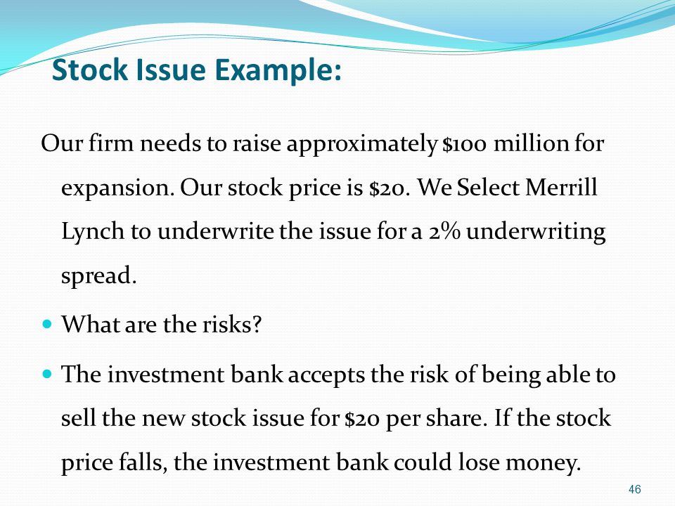 Stock Issue Example: