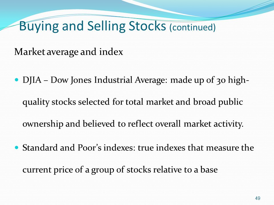 Buying and Selling Stocks (continued)