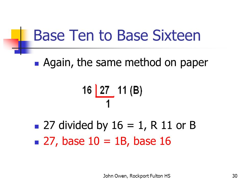 Base Ten to Base Sixteen