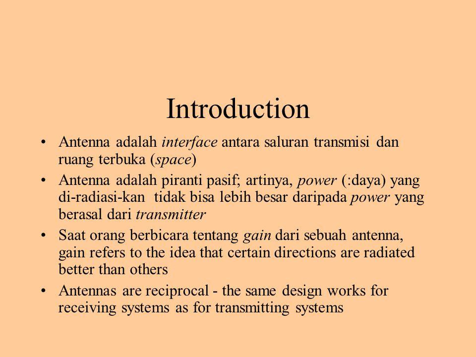 Introduction Antenna adalah interface antara saluran transmisi dan ruang terbuka (space)