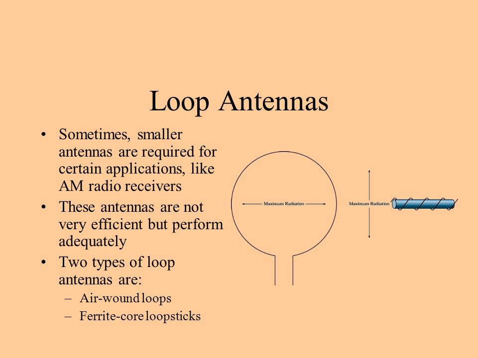 Loop Antennas Sometimes, smaller antennas are required for certain applications, like AM radio receivers.