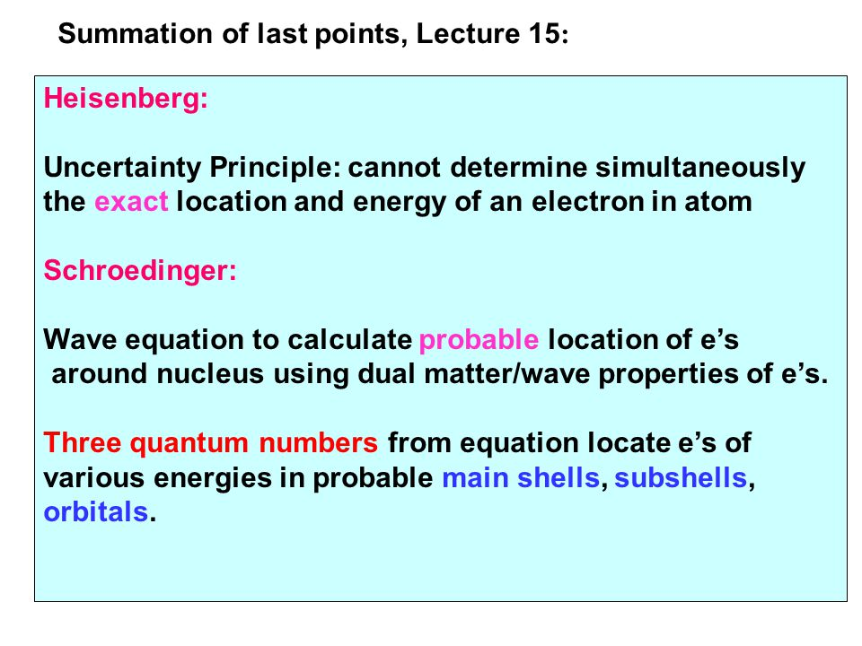 Summation of last points, Lecture 15: