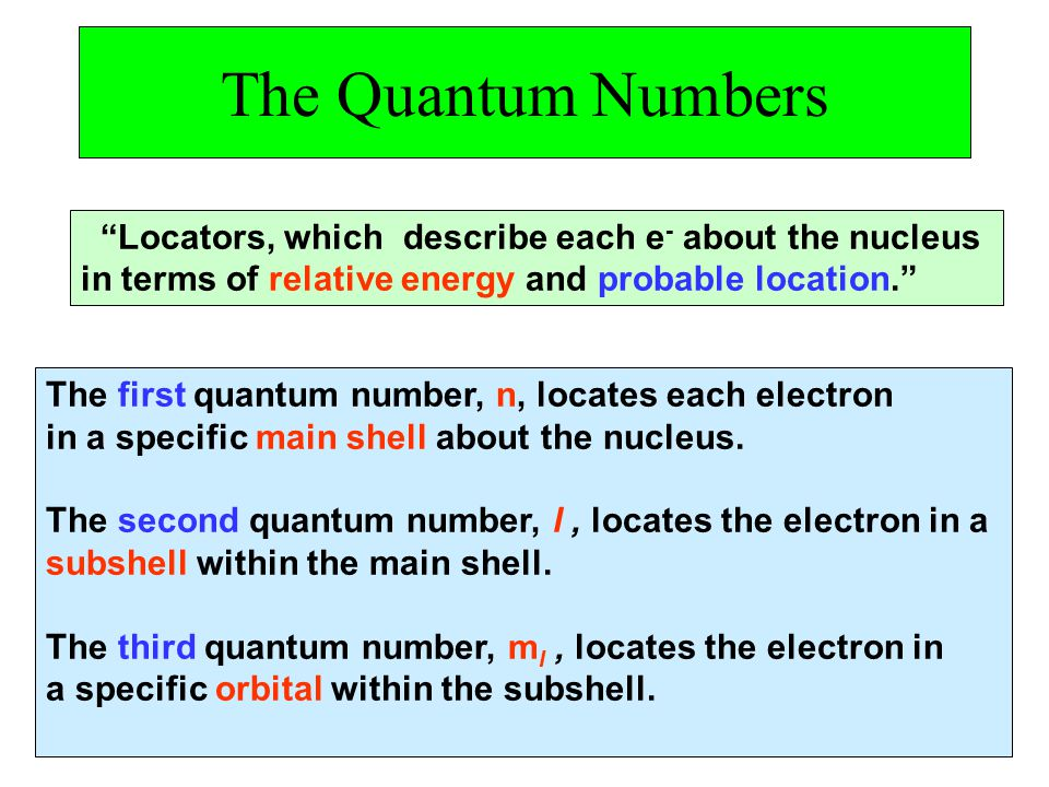 The Quantum Numbers Locators, which describe each e- about the nucleus. in terms of relative energy and probable location.