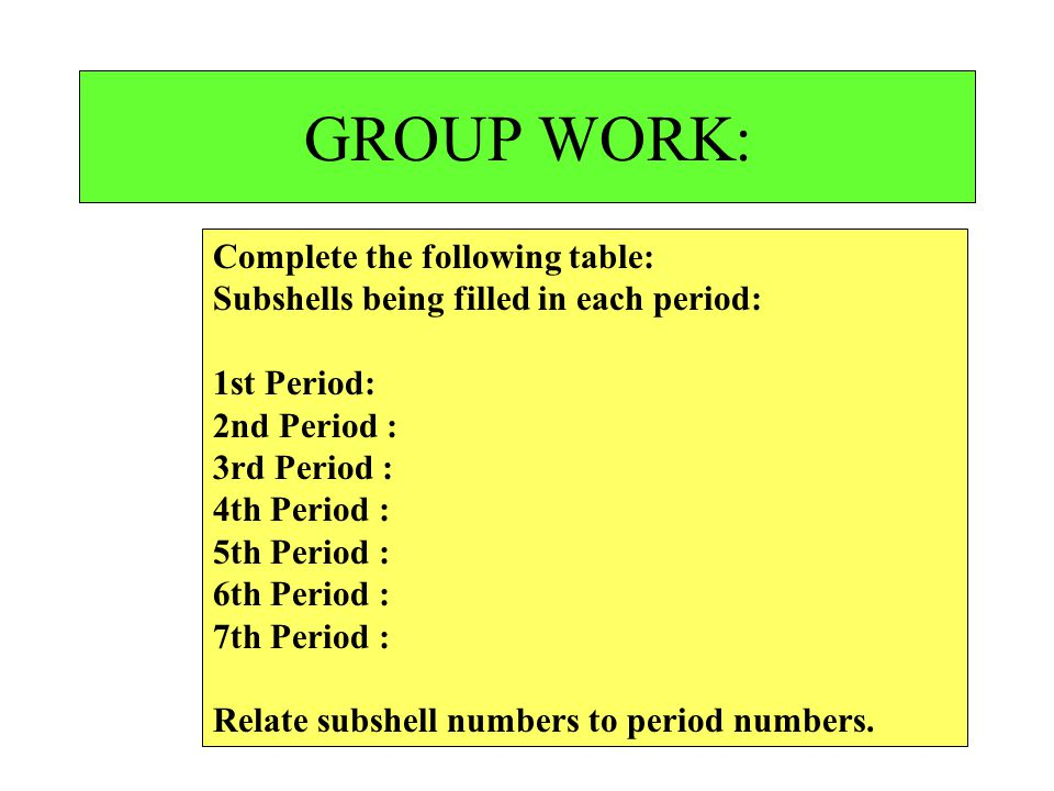 GROUP WORK: Complete the following table: