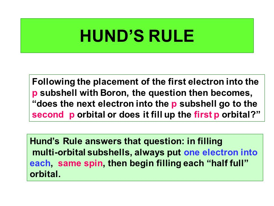 HUND'S RULE Following the placement of the first electron into the
