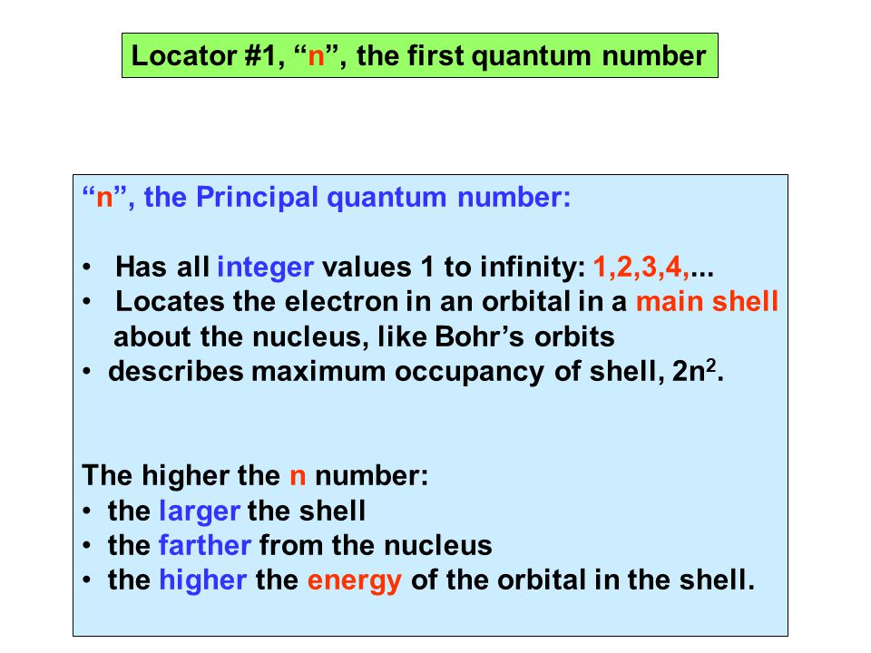 Locator #1, n , the first quantum number