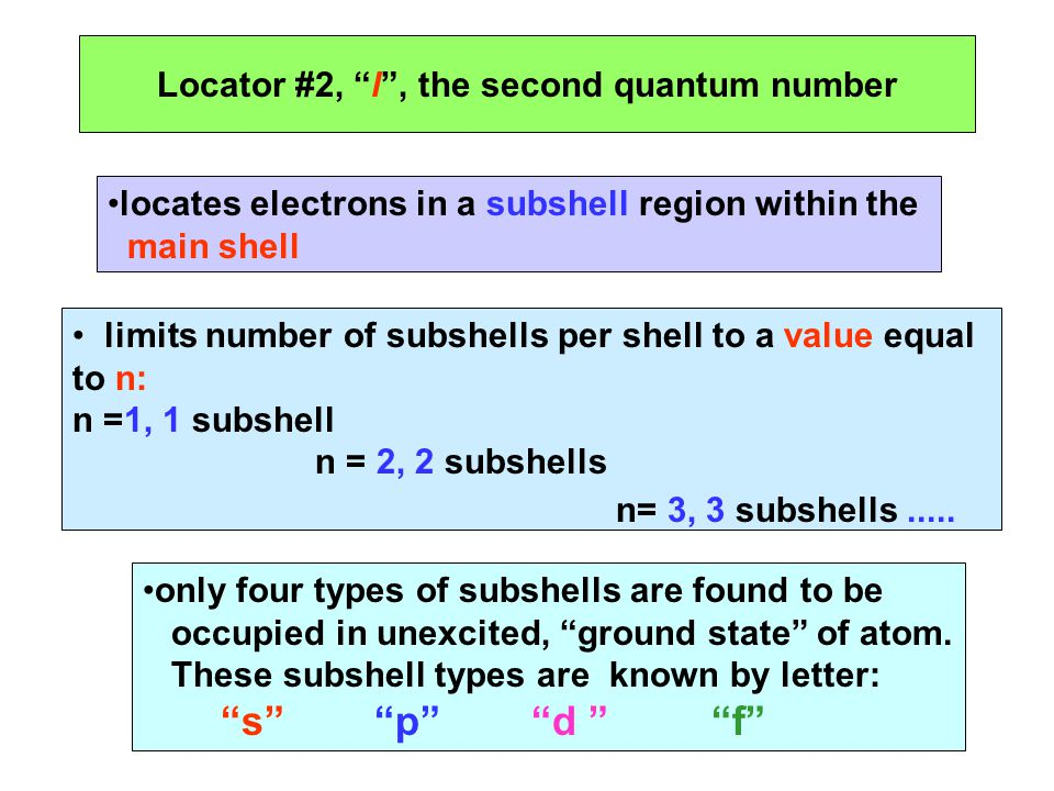 Locator #2, l , the second quantum number