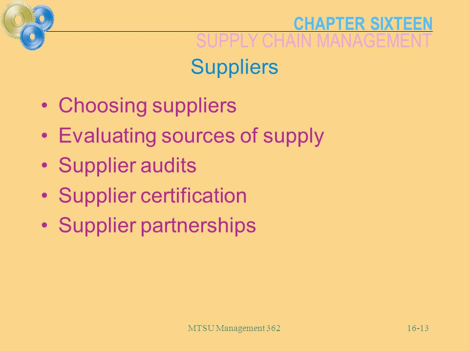 Evaluating sources of supply Supplier audits Supplier certification