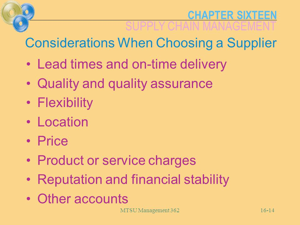Considerations When Choosing a Supplier