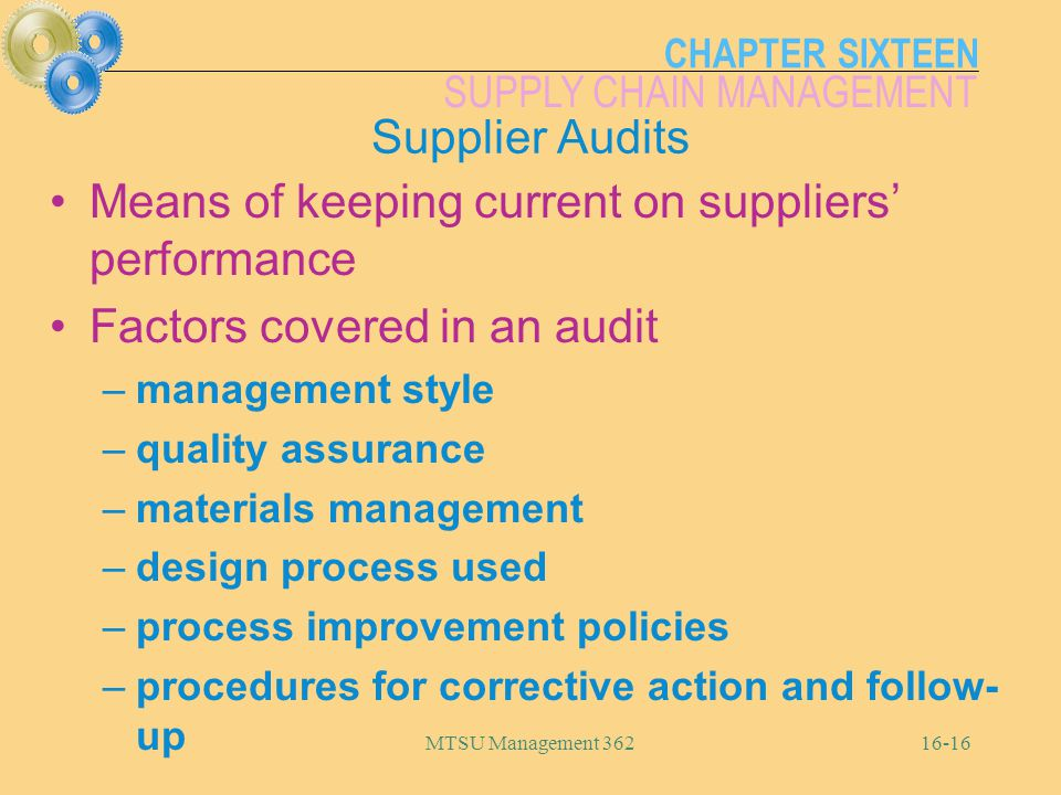 Means of keeping current on suppliers' performance