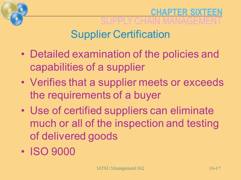 Supplier Certification