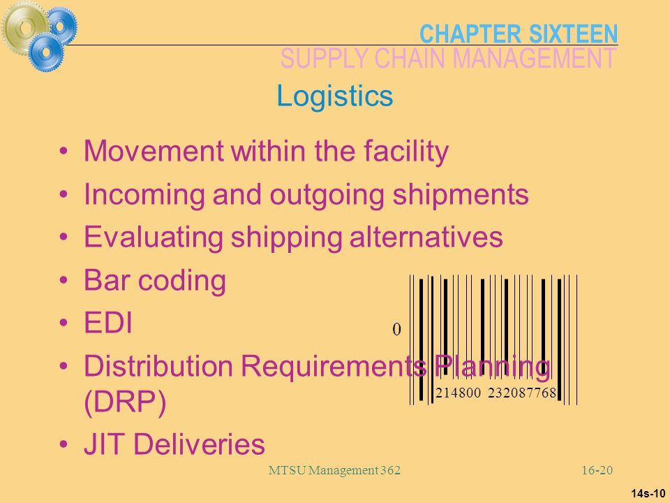 Movement within the facility Incoming and outgoing shipments