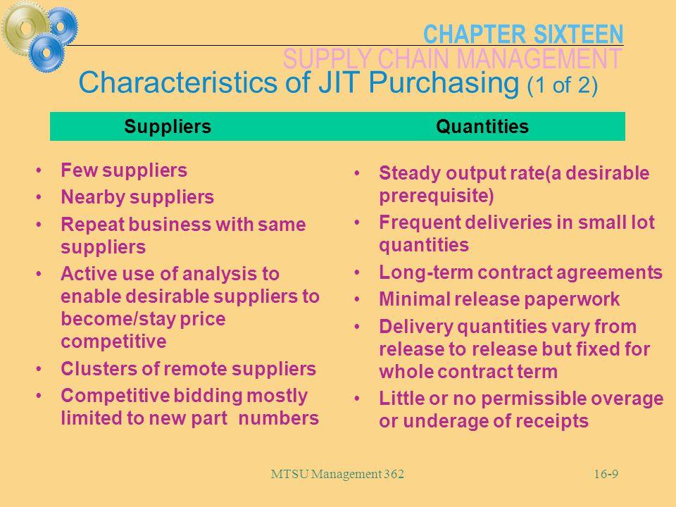 Characteristics of JIT Purchasing (1 of 2)