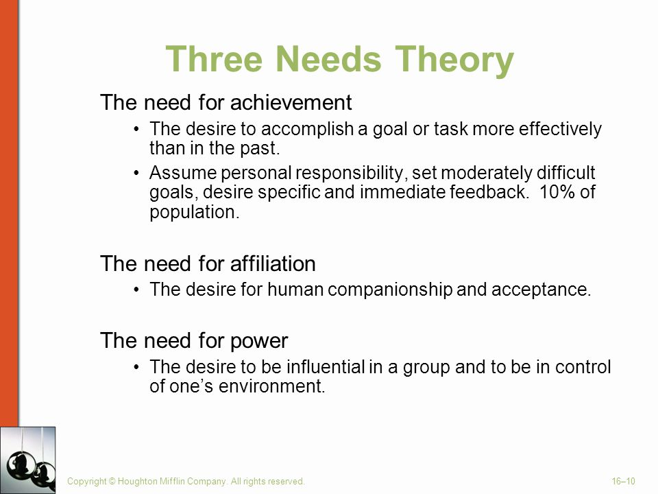 Three Needs Theory The need for achievement The need for affiliation