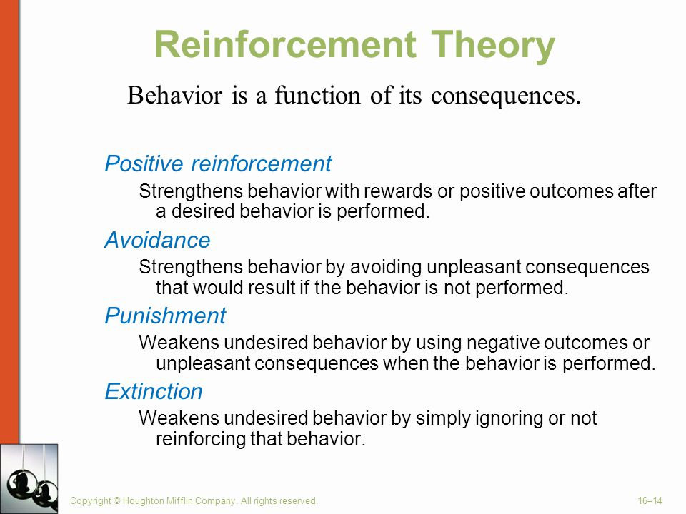 Reinforcement Theory Behavior is a function of its consequences.