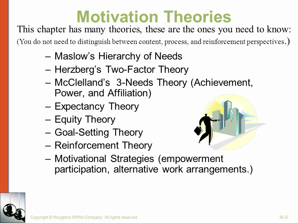 Motivation Theories This chapter has many theories, these are the ones you need to know: